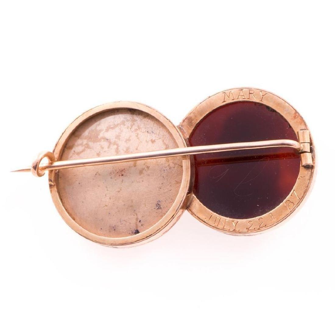 Antique enamel, hardstone cameo and 14k gold brooch - 3