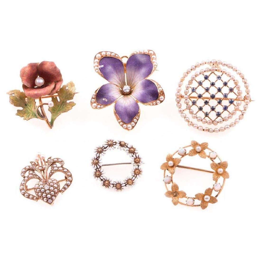 Six antique brooches