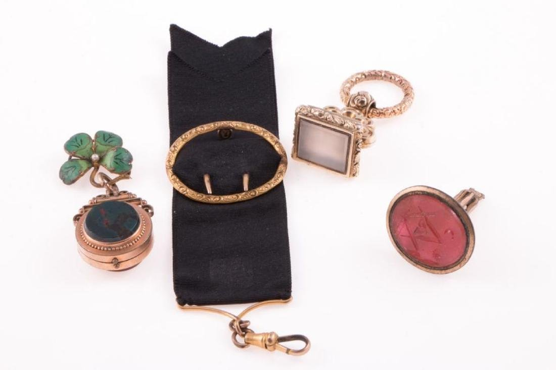 Collection of four antique watch fobs - 2
