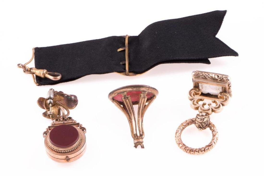 Collection of four antique watch fobs - 3