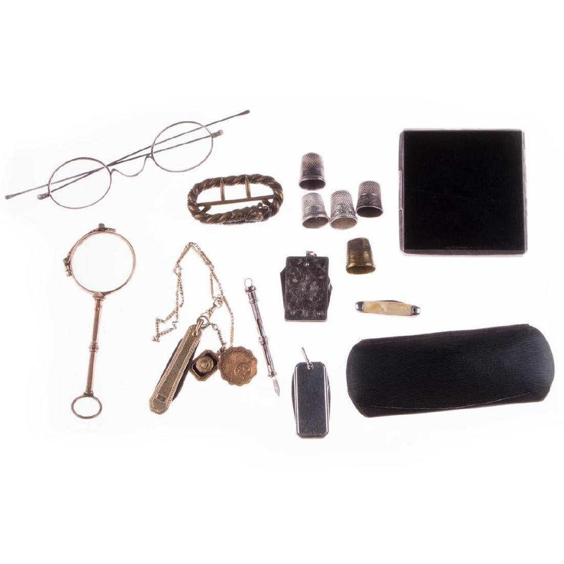 Collection of silver, gold-filled objects and accessori