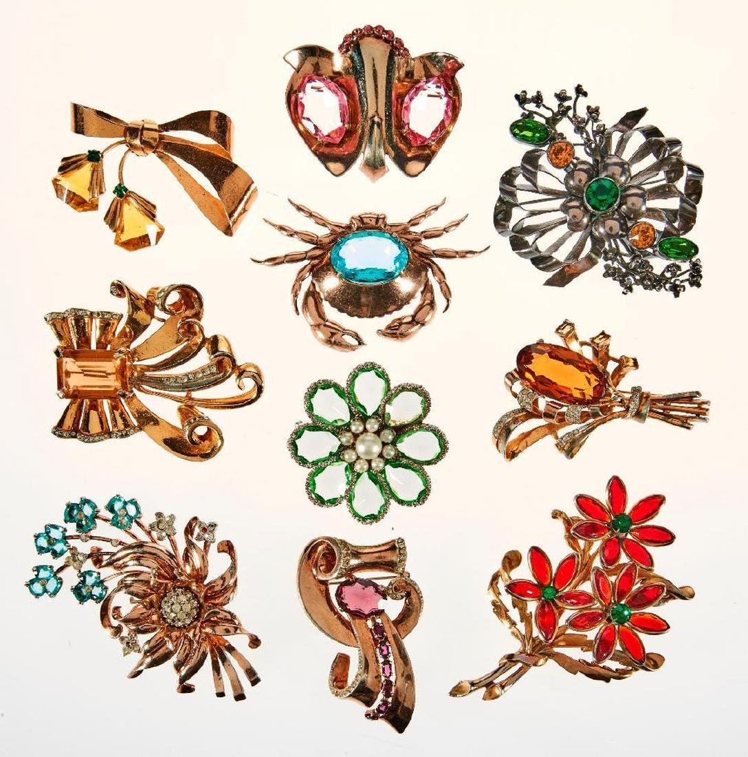 Collection of 10 rhinestone, stone, costume