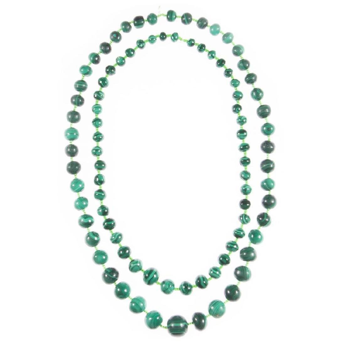 Two malachite beaded necklaces