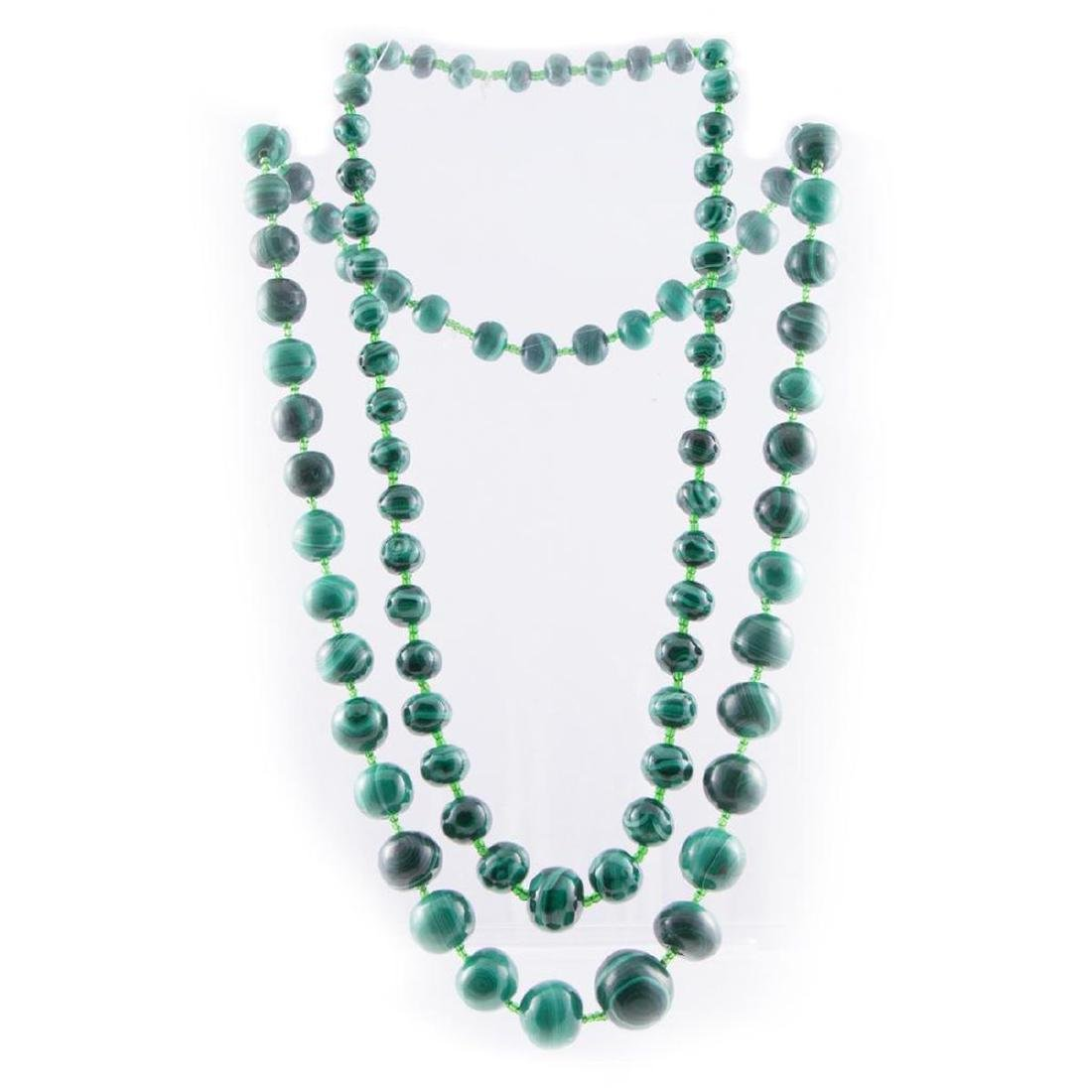 Two malachite beaded necklaces - 3