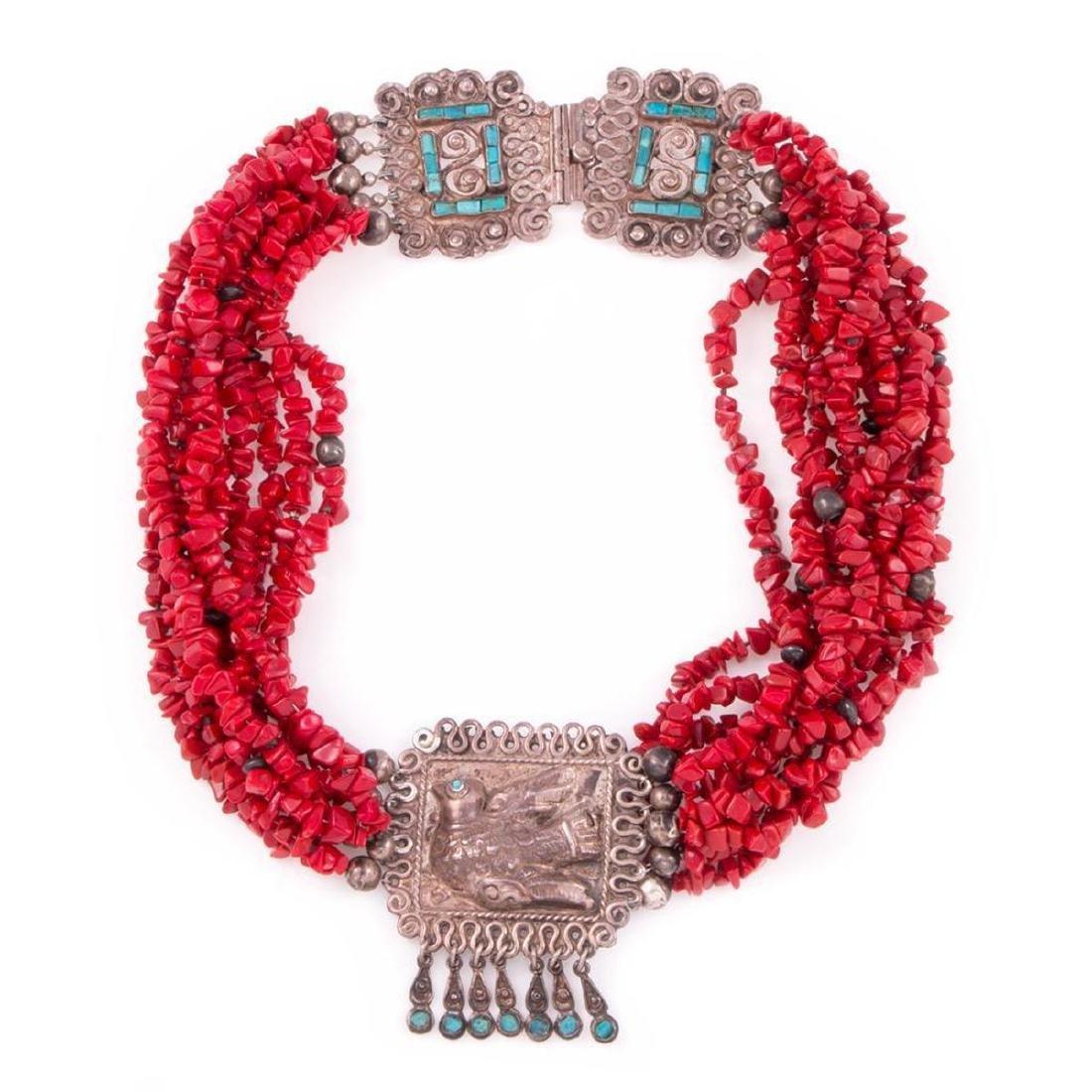 Ricardo Salas for MATL Mexico, coral & turquoise neckla