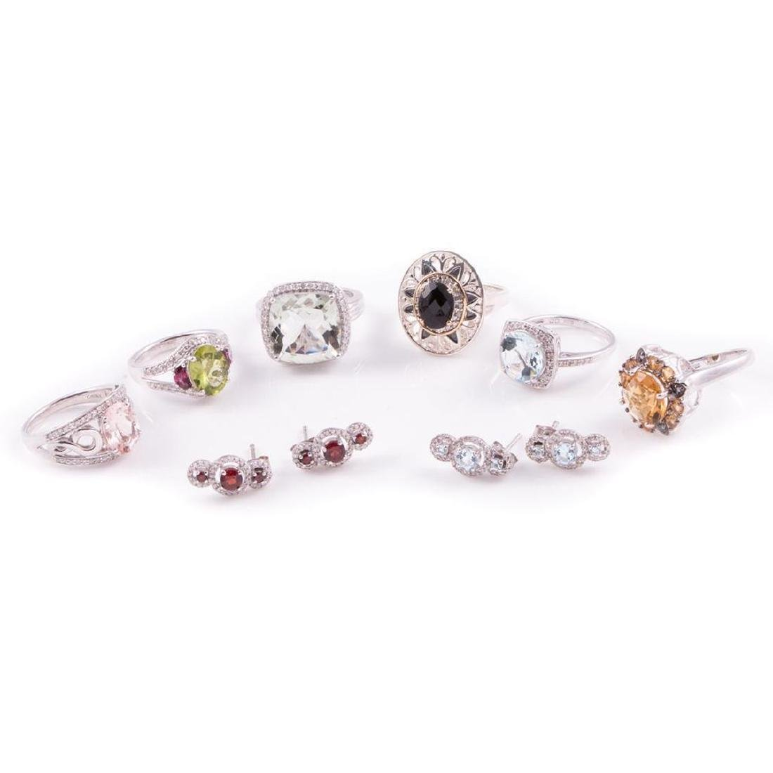 Gem-set, diamond and sterling silver jewelry