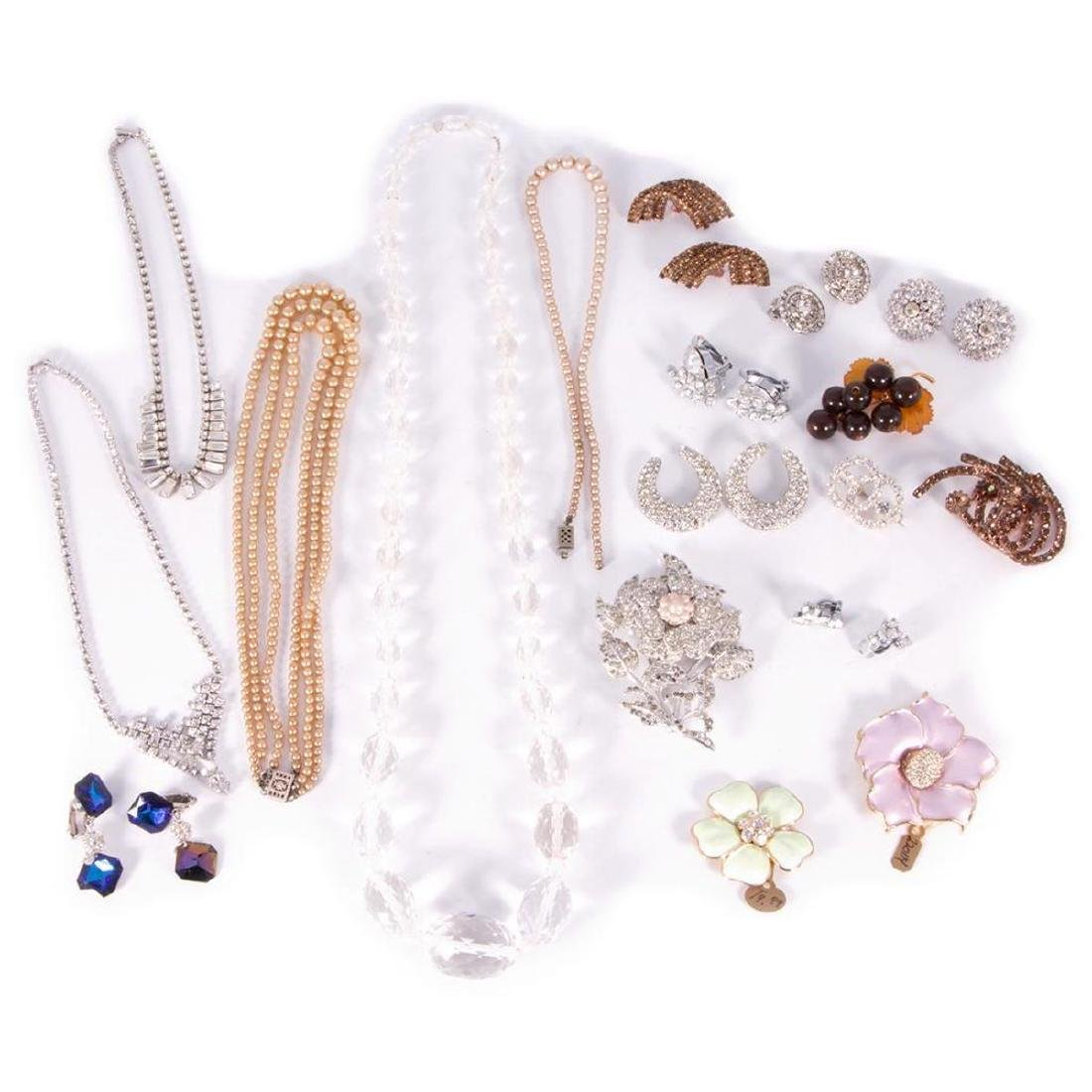 Collection of rhinestone and rock crystal jewelry