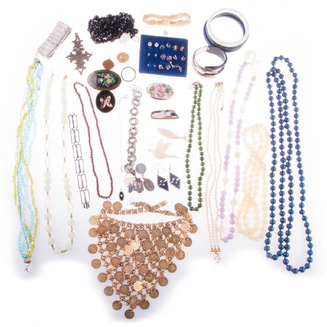 Collection of beaded, costume jewelry and medals