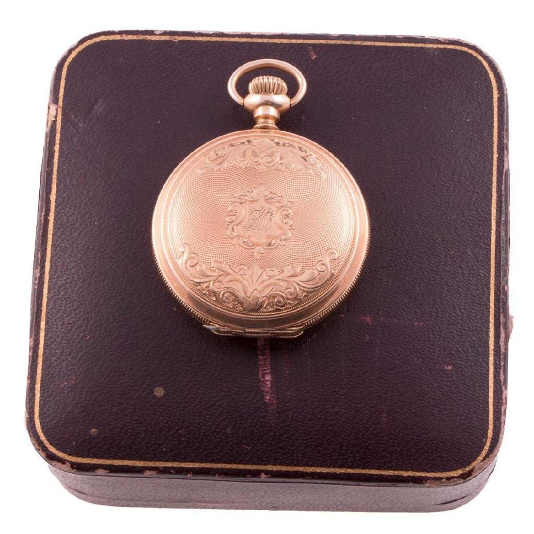 Waltham 14k gold hunting cased pocketwatch, with box