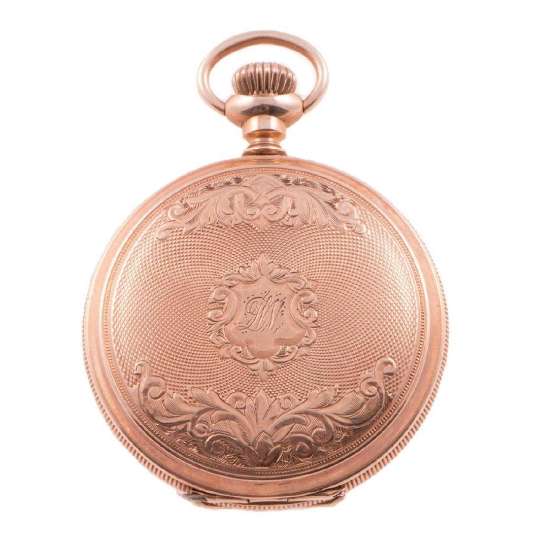 Waltham 14k gold hunting cased pocketwatch, with box - 3