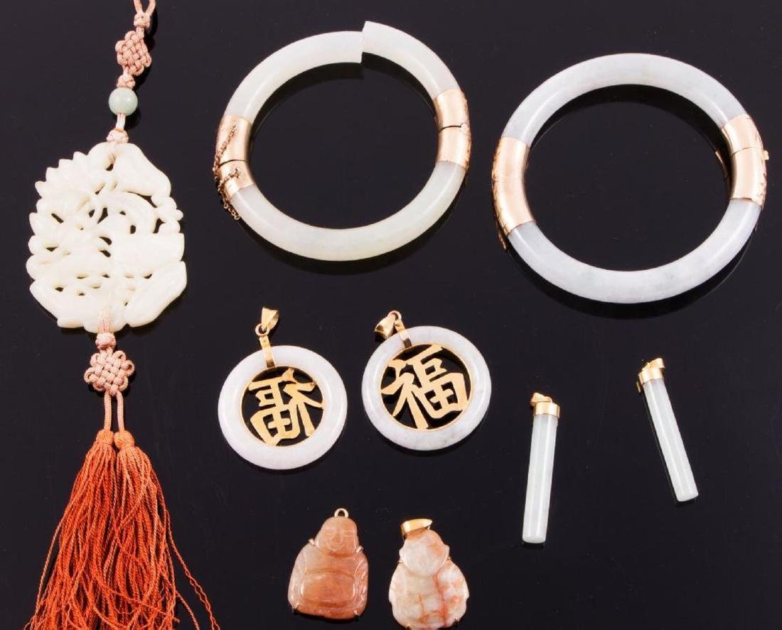 Collection of jade, hardstone and 14k gold jewelry - 2
