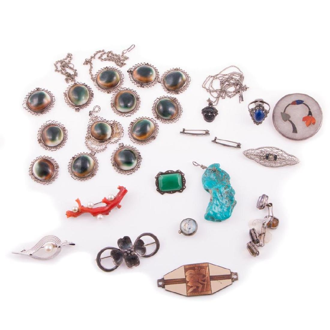 Collection of gem-set and silver vintage jewelry