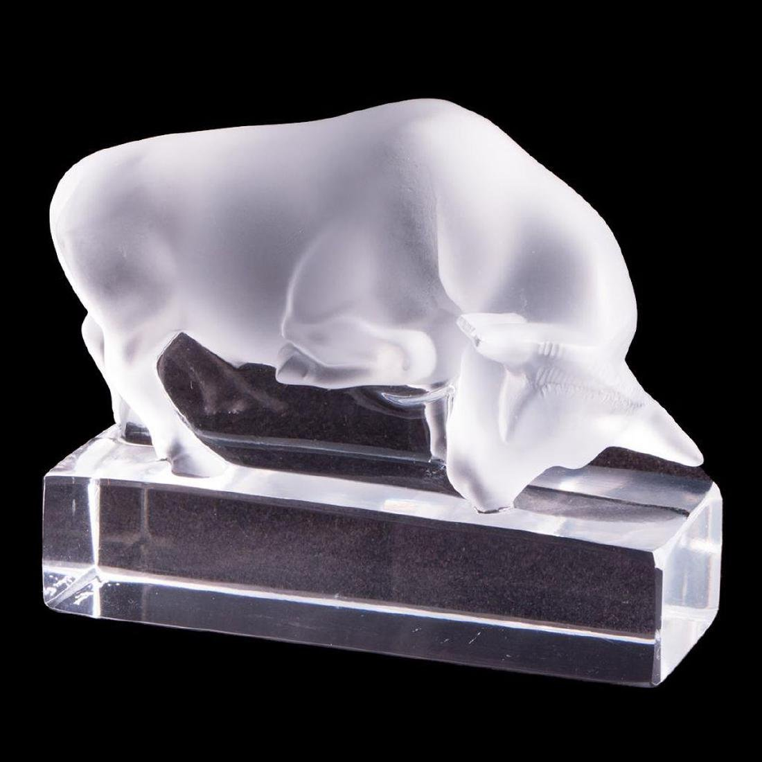 Lalique France crystal bull paperweight