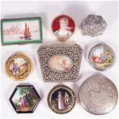 Collection of Six Sterling and Enamel Compacts and Thre
