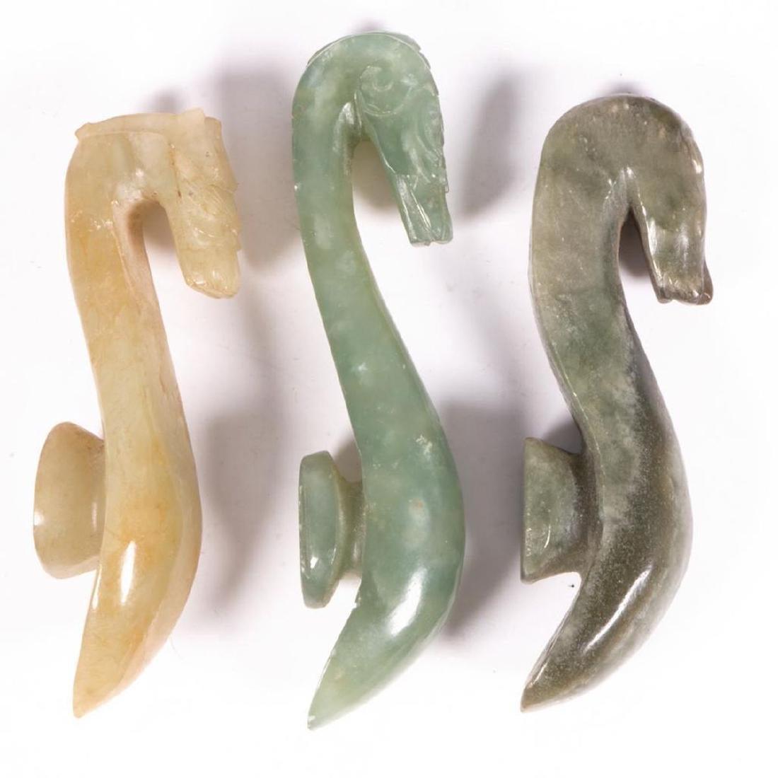 Three Chinese jade belt buckles. - 3