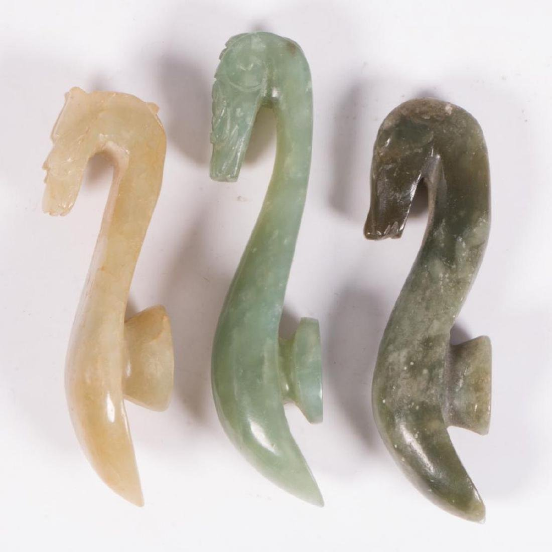 Three Chinese jade belt buckles. - 5