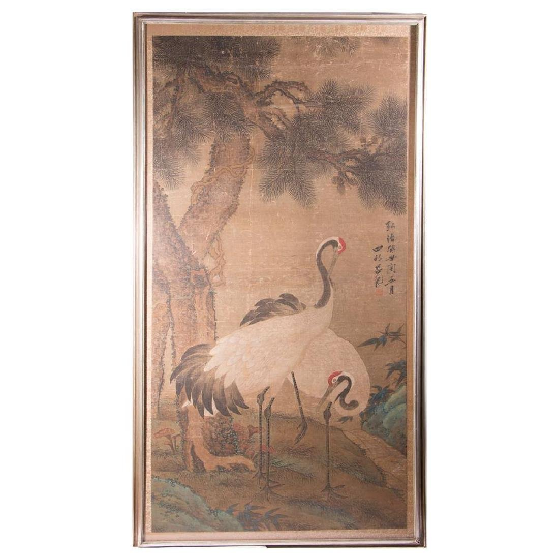 An 18th / 19th century Chinese painting of cranes.