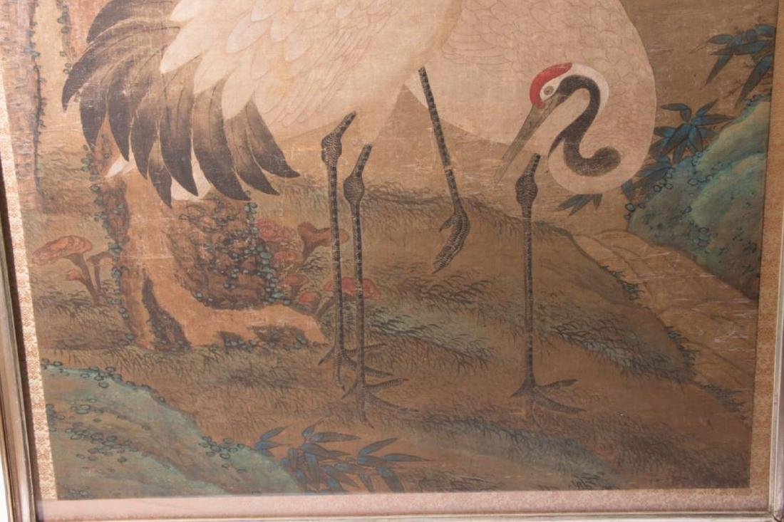 An 18th / 19th century Chinese painting of cranes. - 4