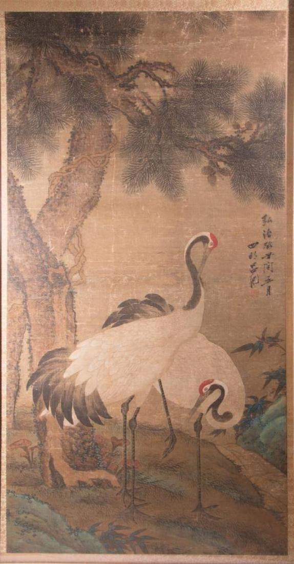 An 18th / 19th century Chinese painting of cranes. - 5
