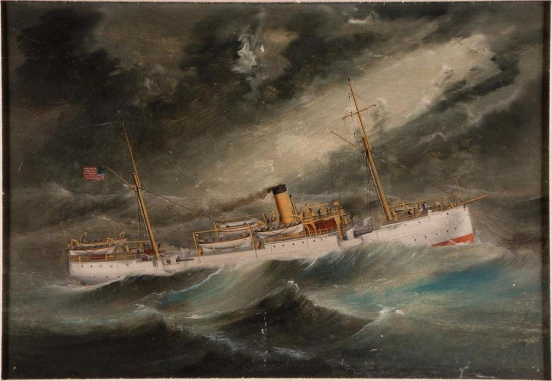 A Chinese School painting of an American gunboat. - 2