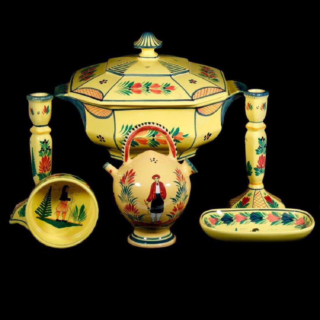 Seven French Quimper ware pieces.