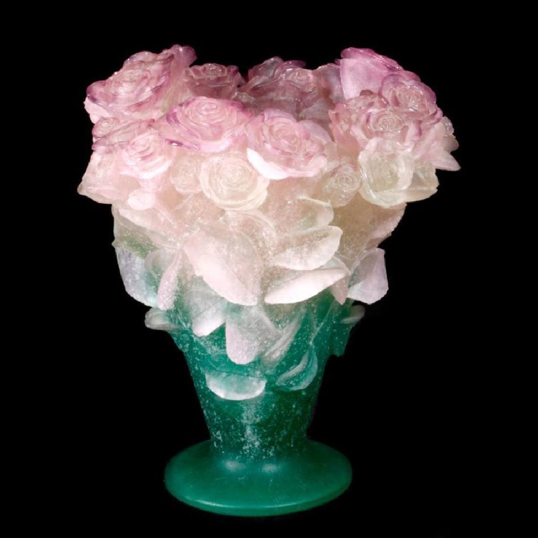 French Daum rose pattern vase.