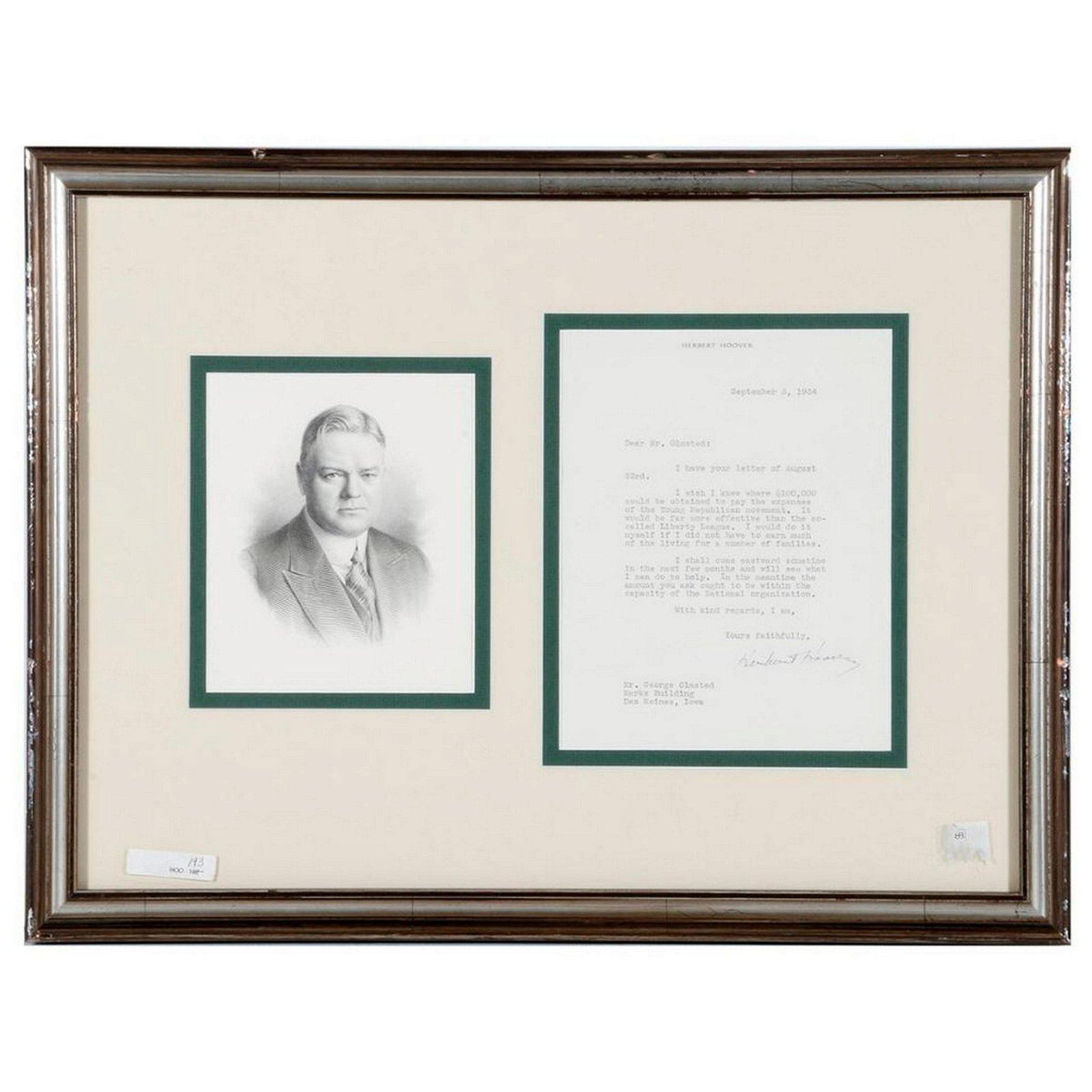 Signed letter by President Herbert Hoover.