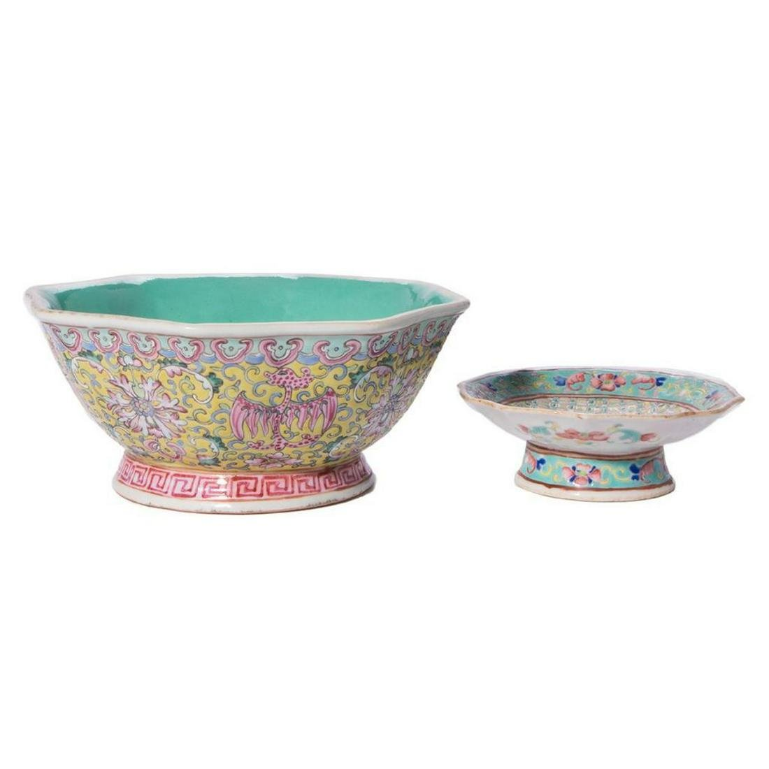 Two polychrome Chinese bowls.