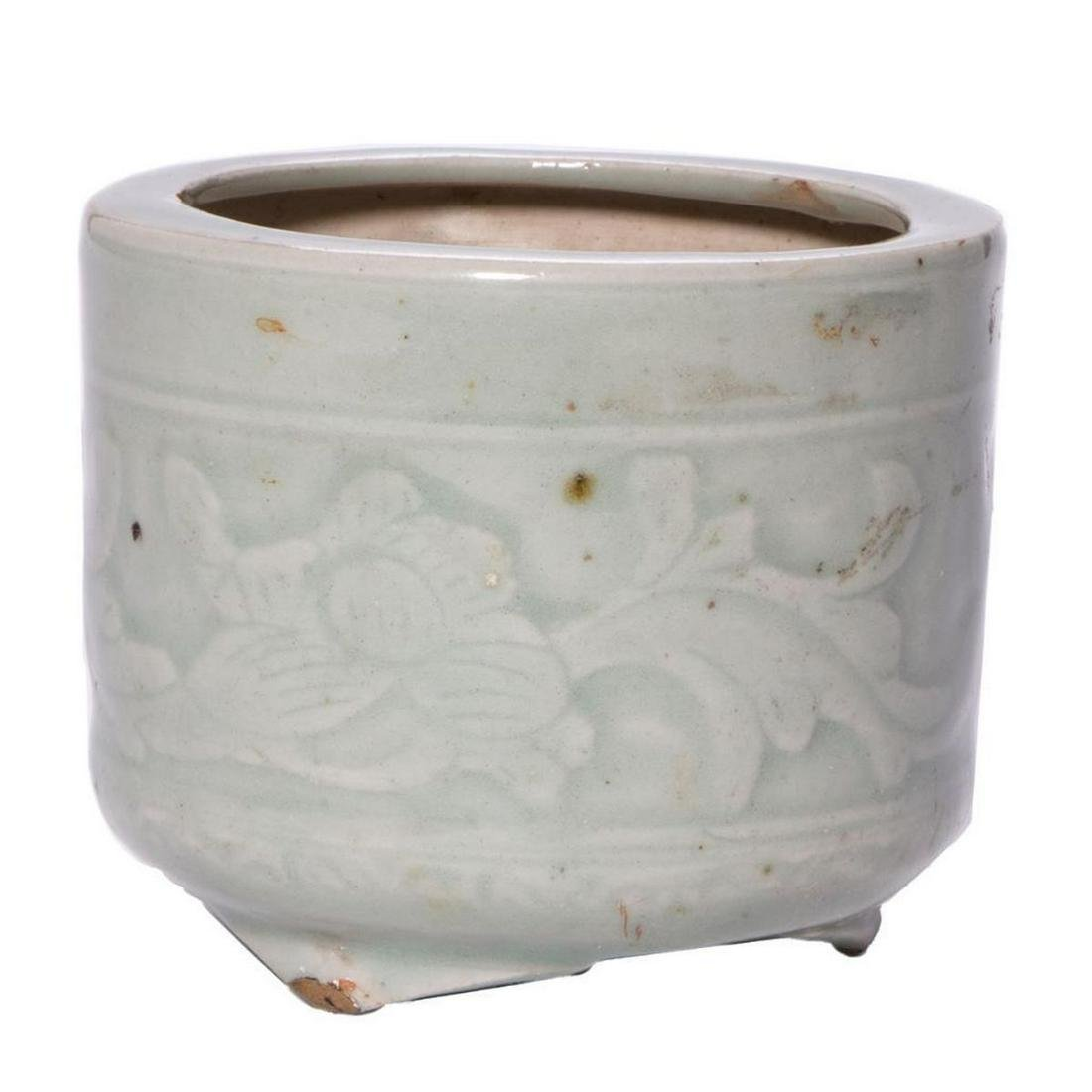 Chinese Ming dynasty footed celadon bowl.