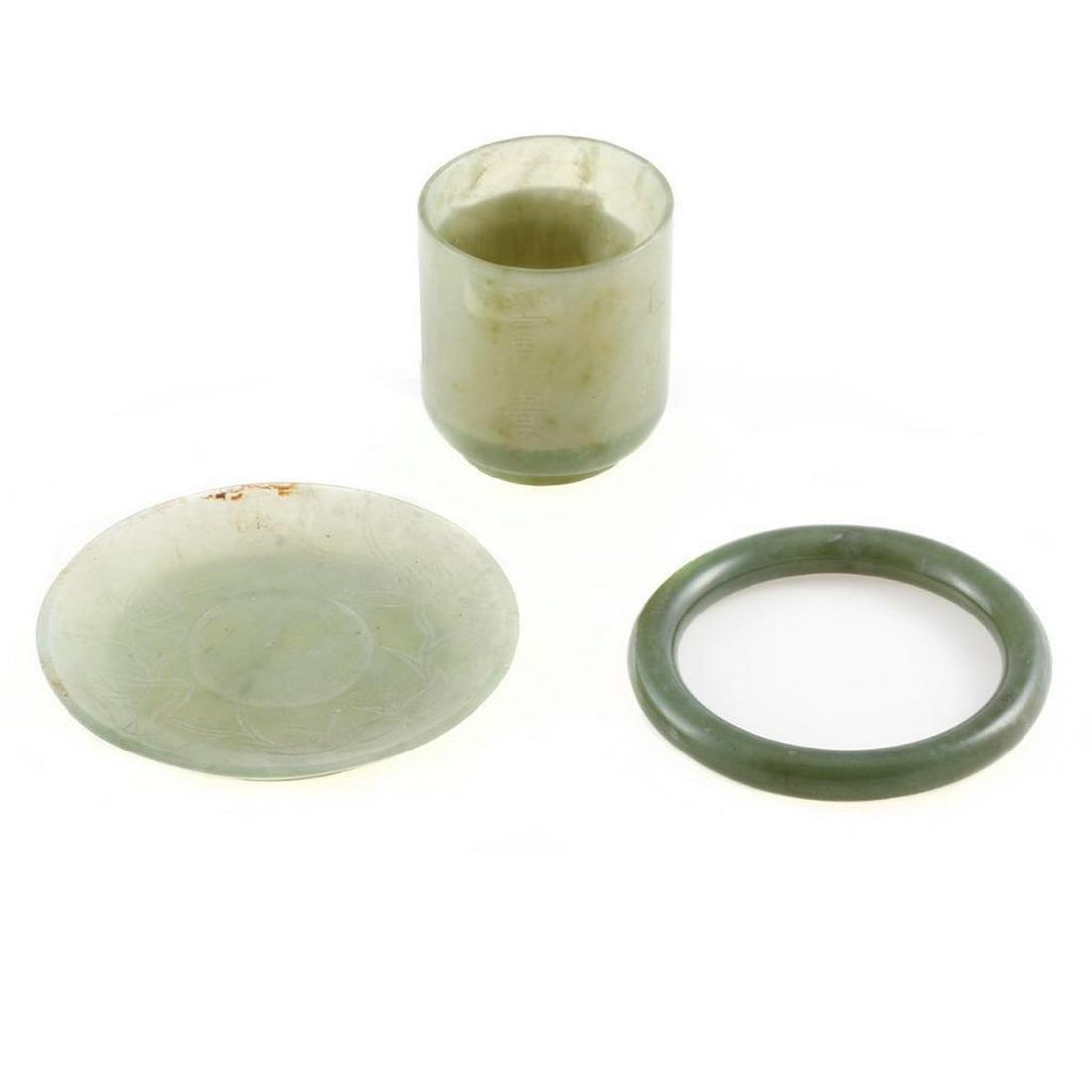 Jade bangle bracelet with nephrite cup & saucer