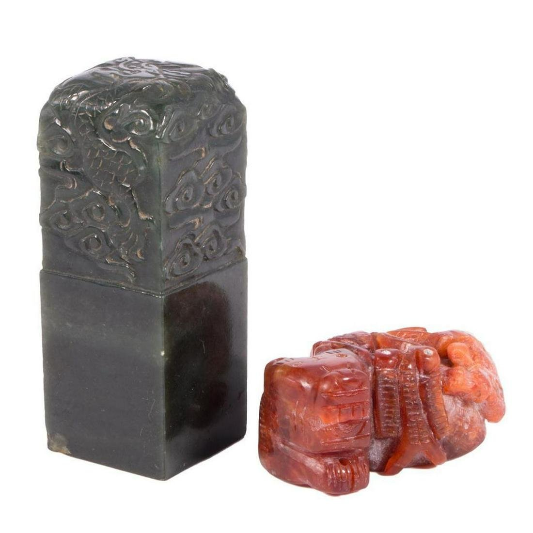 Two Chinese jade and hardstone carvings.