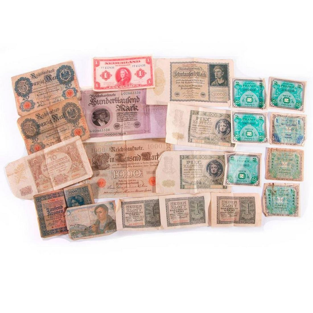 Lot of vintage European currency.