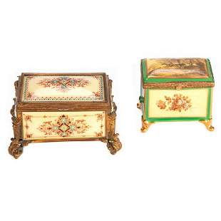Two Continental Porcelain Painted Boxes
