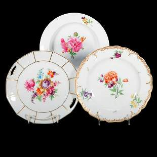 Three Porcelain Plates all with Florals
