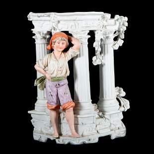 A German porcelain boy vase