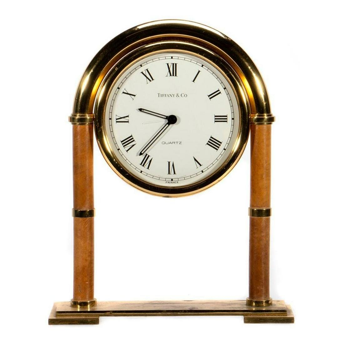 Tiffany & Co. Brass Desk Mantle Clock - Swiss made