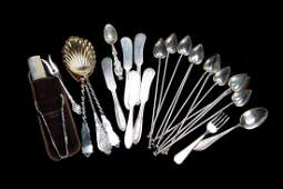 A grouping of sterling silver