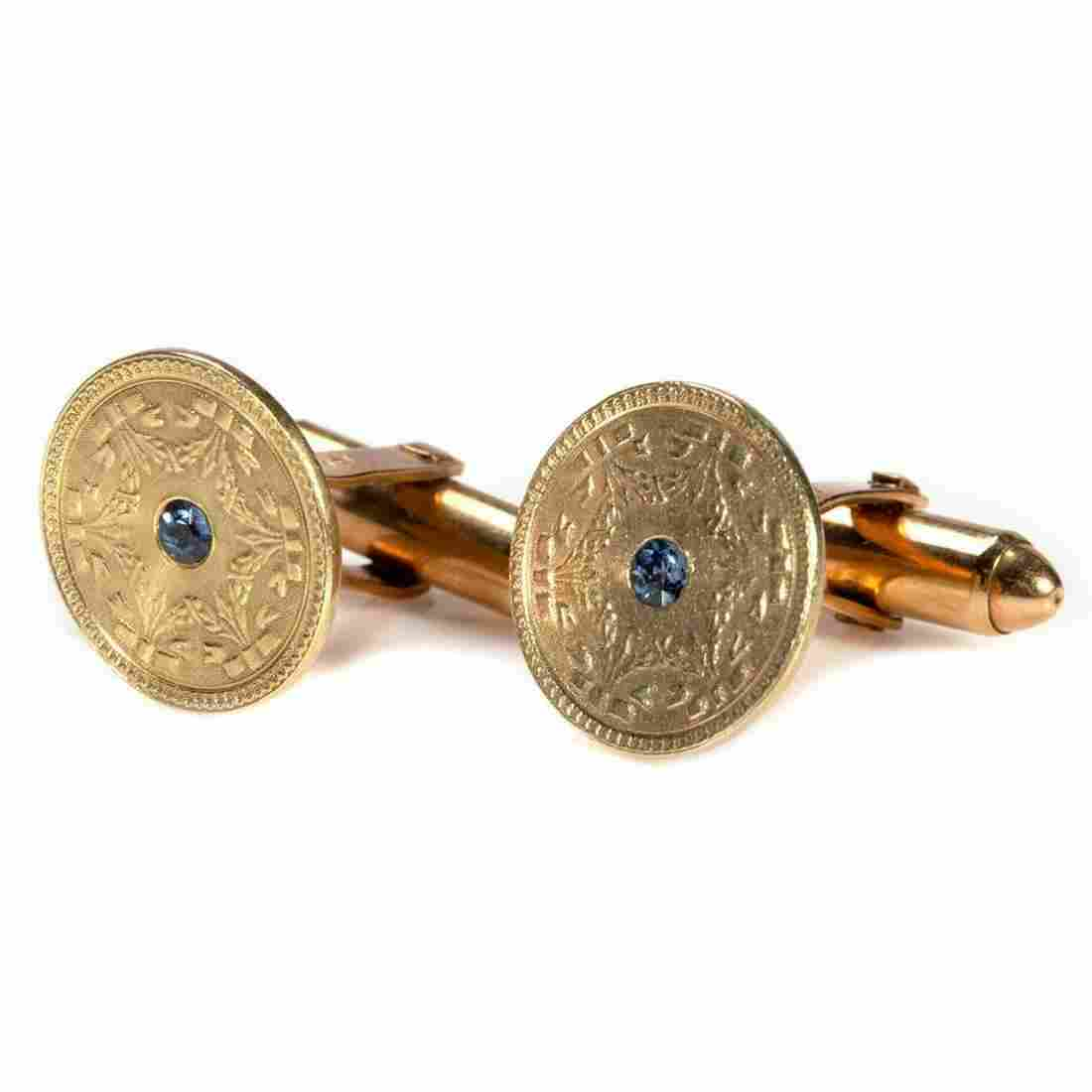 Pair of vintage sapphire and 14k gold cufflinks