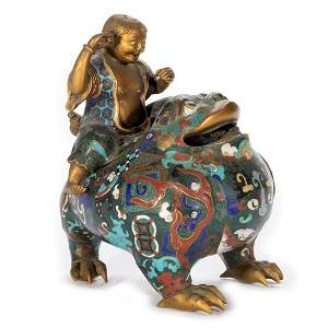 19th Centry Asian Cloisonne Figural Vessel.
