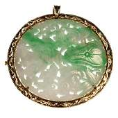 Jade diamond and 14k gold pendantbrooch