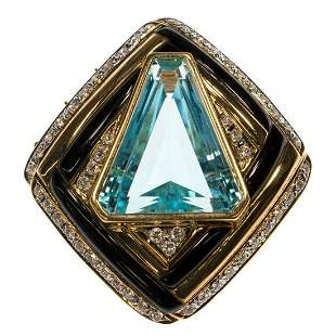 Blue topaz diamond onyx 18k pendantenhancer