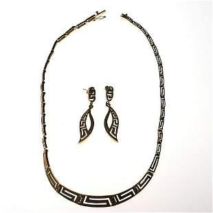 14k gold Greek key design necklace earring set