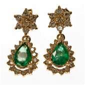 Pair of emerald diamond 14k gold earrings