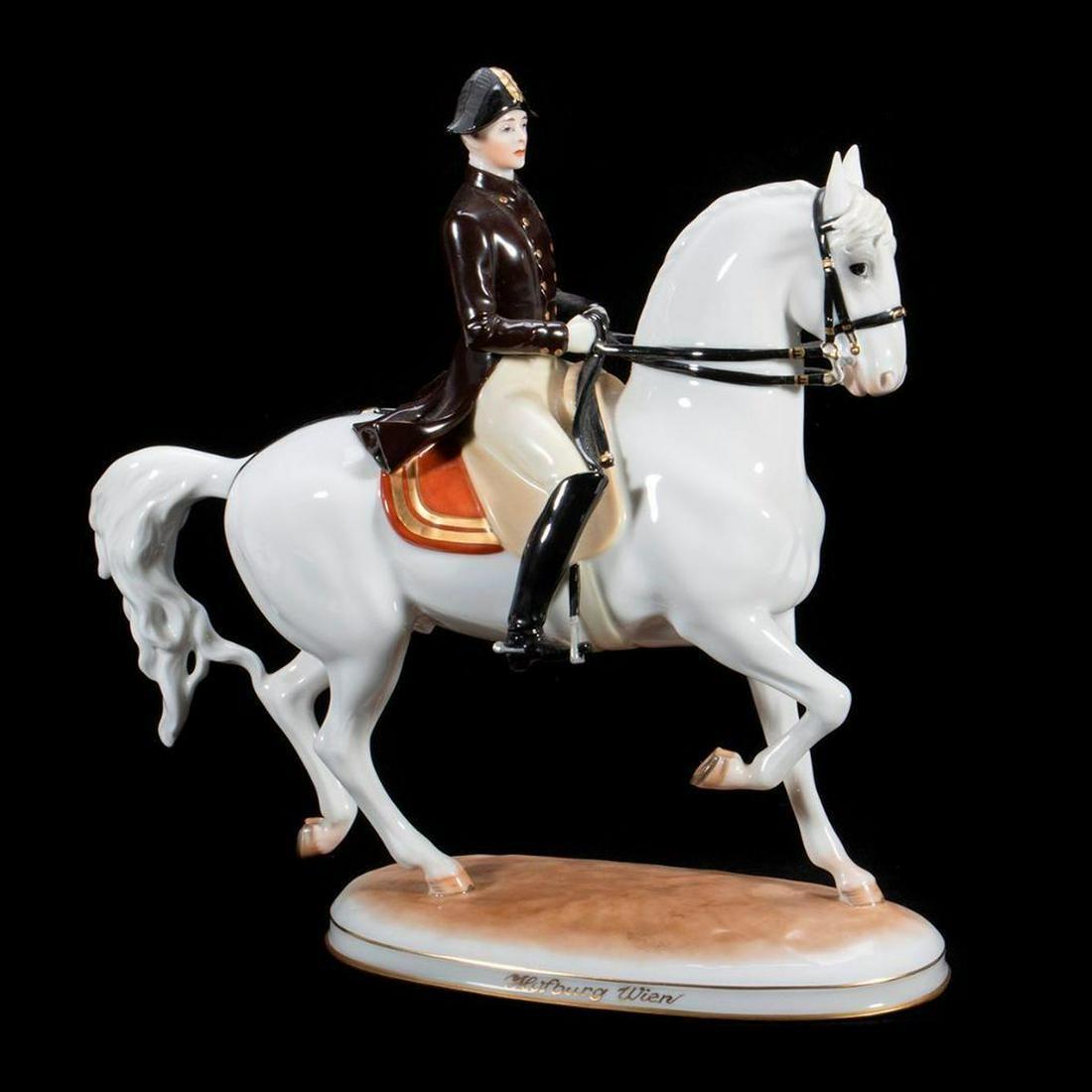 Vienna Porcelain Lipizzaner Figure Horse and Rider