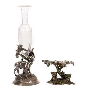 Meriden Silverplate vase and Decoration