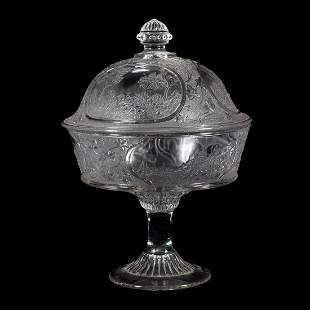 Canadian Press Molded Glass Covered Footed Bowl