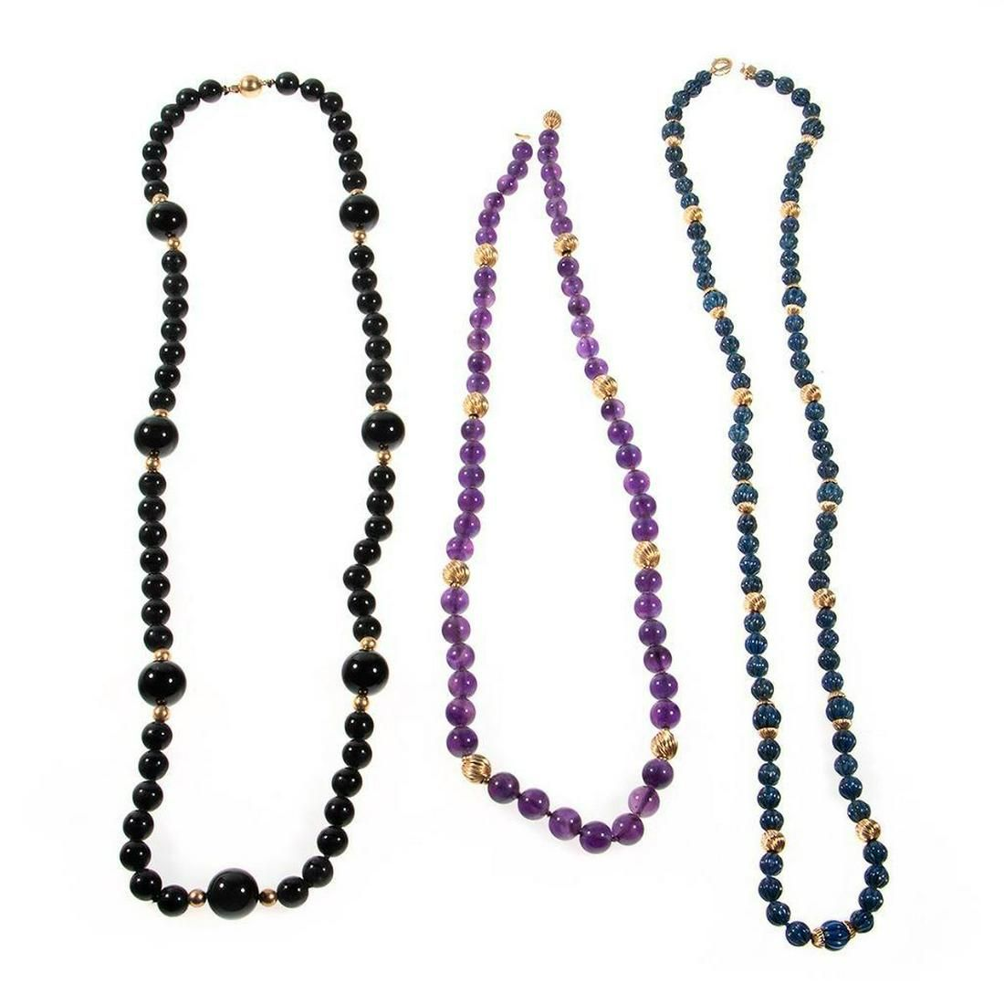 Three beaded and 14k gold necklaces