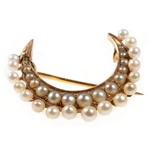 Victorian pearl and 14k gold crescent brooch