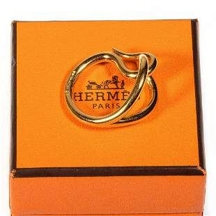 Hermes gold tone scarf ring, with box
