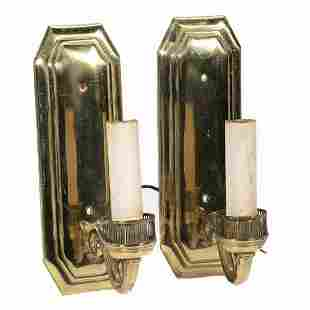 Pair of Neoclassical Brass Sconces